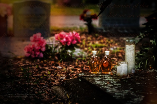 """Grave Offerings"" [Click the image to enlarge/reduce its size.] Nikon D800, ISO 320, f/4.0 at 1/25 sec., 85mm"